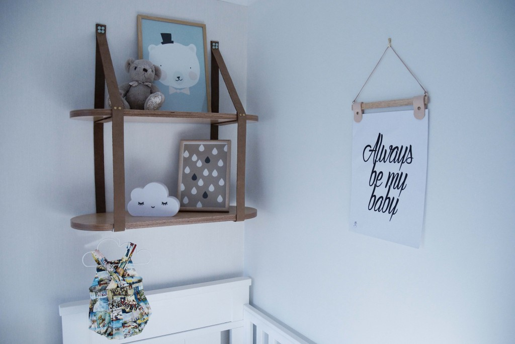 Leather Strap Shelf Nursery Design