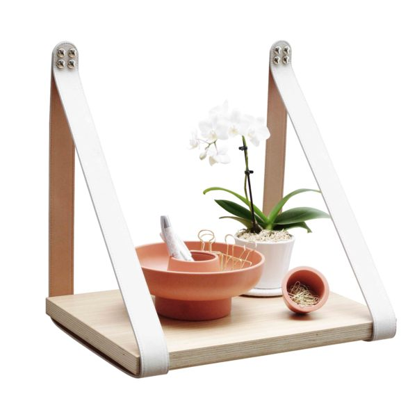 Cream Leather Strap Shelf