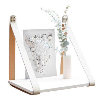 Cream Leather Strap Shelf