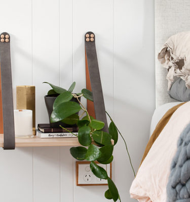 Grey Leather Strap Side Table