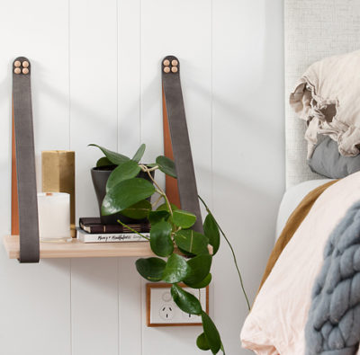 Grey Leather Strap Side Table Unique Suede Leather Strap Shelf