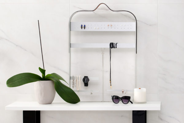 Brushed Silver Jewellery Display Suede Leather Hanger