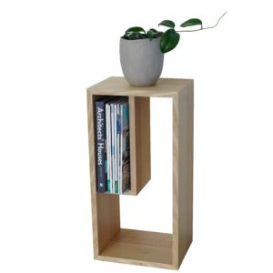 Timber magazine side table