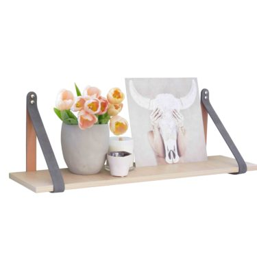 Grey Suede Leather Strap Shelf - Nordic Shelf