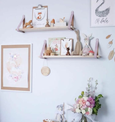 Pink Leather Strap Shelves