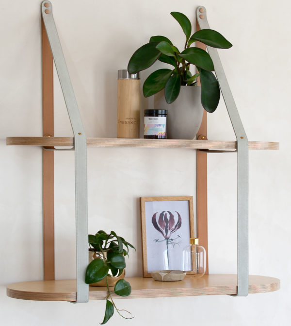 Two Tier Roundie Leather Strap Shelf