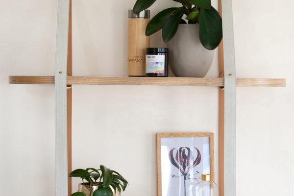 Two Tier Roundie Leather Strap Shelf