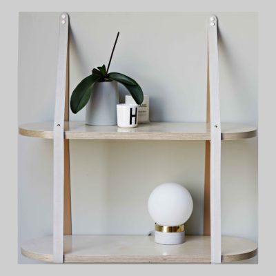 Two tier leather strap shelf Two level leather strap shelf