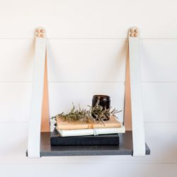 Mushroom Suede Charcoal Leather Strap Shelf Sidetable
