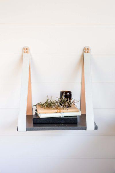 Mushroom Suede Charcoal Leather Strap Shelf Sidetable