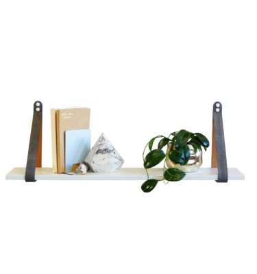 White Leather Strap Shelf