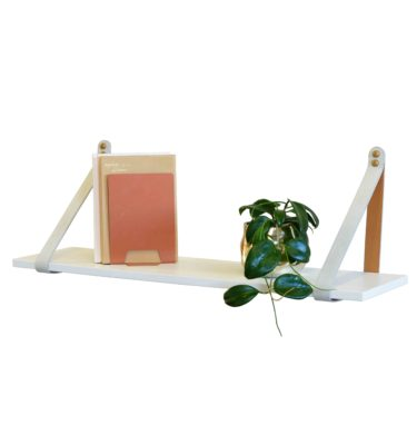 White Leather Strap Shelf