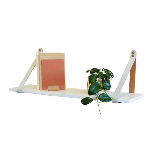 Suede White Leather Strap Shelf