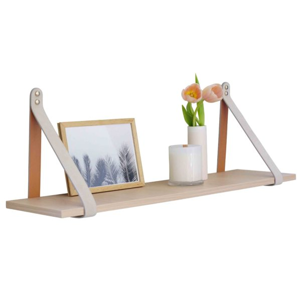 Mushroom Nordic Suede Leather Strap Shelf