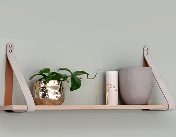 Mushroom Nordic Suede Leather Strap Shelf