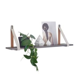 Charcoal Mushroom Suede Leather Strap Shelf