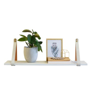 Mushroom and Linen Suede Leather Strap Shelf