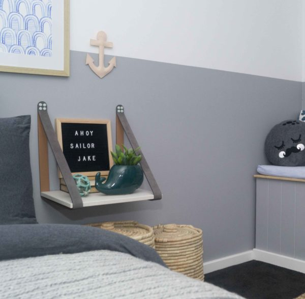 Grey Leather Strap Shelf