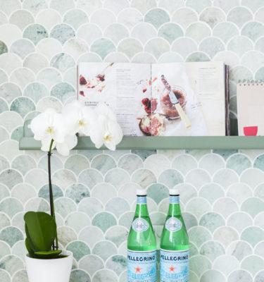 Recipe Holder Ledge on Mermaid Tiles by H&G Designs. Picture ledge. The Ledge