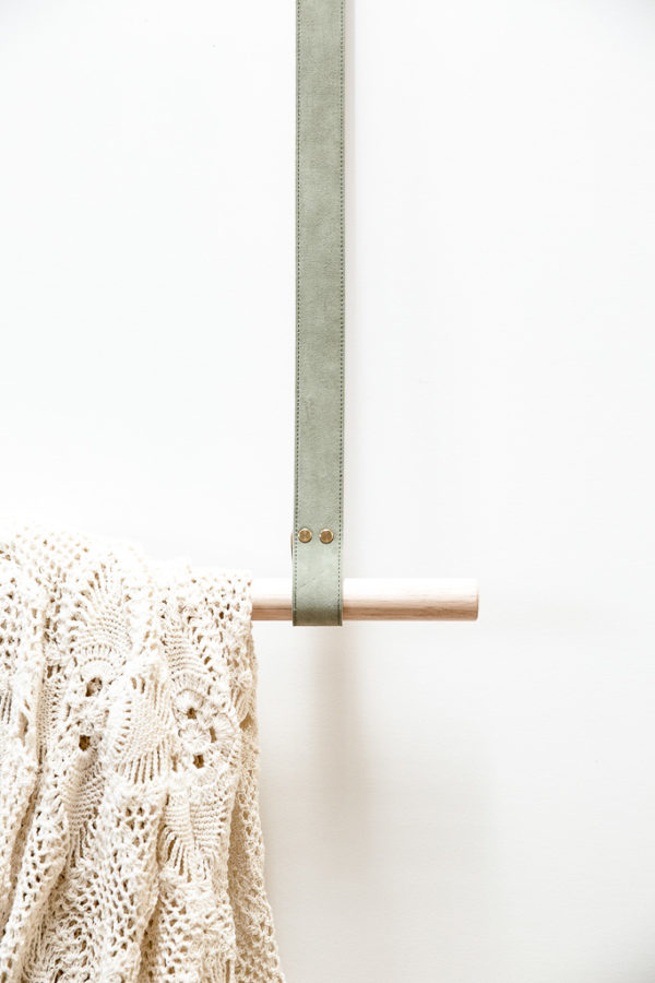 Sage Leather Hanging Rail
