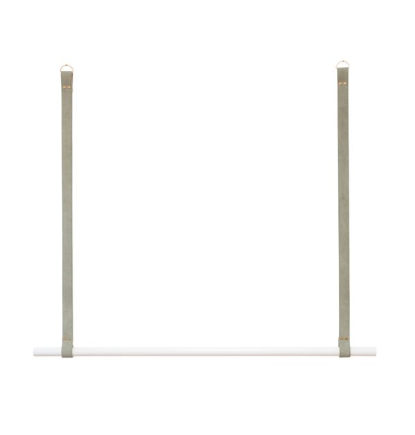 Sage Suede White Leather Hanging Rail