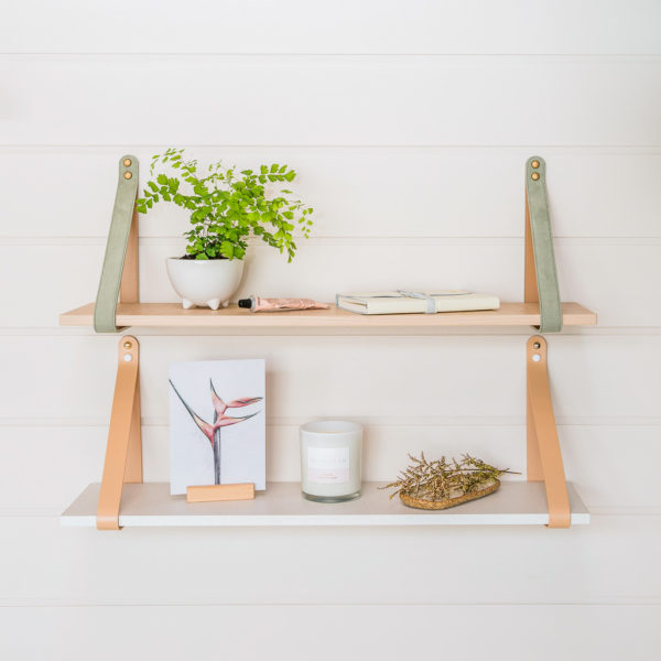 Sage Suede Strap Shelf with Nordic styled