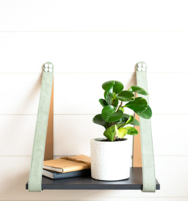 Sage Suede Strap Side Table with Charcoal styled LR