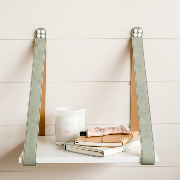 Sage Suede Strap Side Table with White styled LR