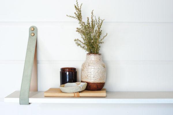 Sage Leather Strap Shelf Linen