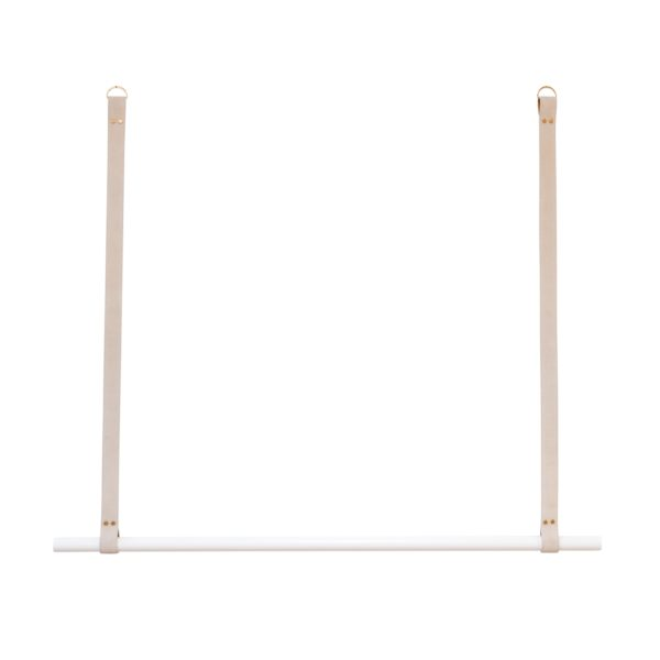 White Hanging Rail with Mushroom Suede