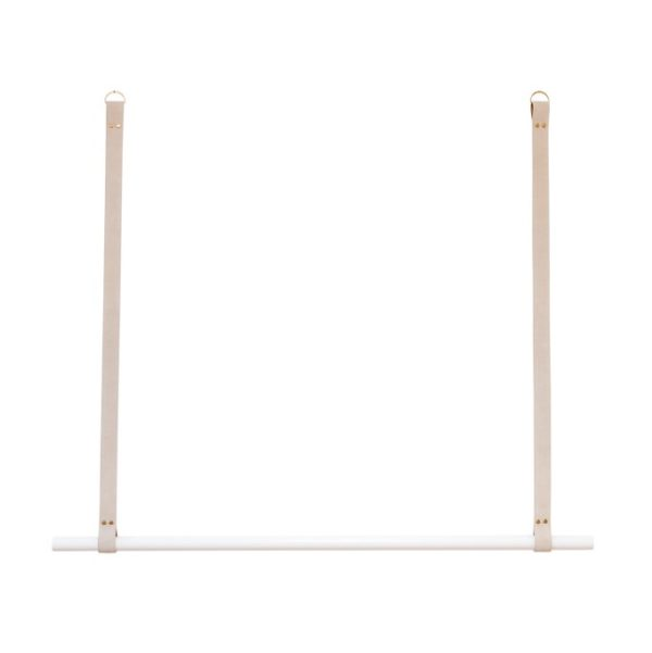 White Hanging Rail with Nude Leather LR