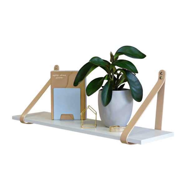 Nude Leather Strap Shelf White