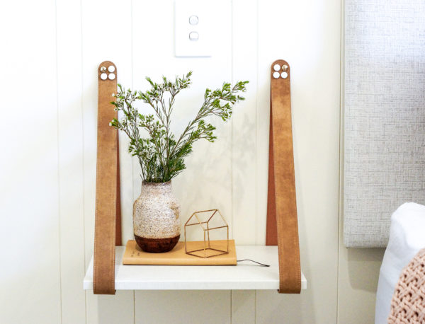Biscuite Suede Leather Strap Side Table Linen