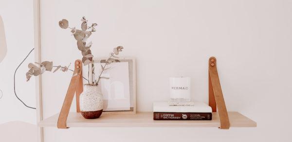 LSLB1 Biscuit Suede Leather Strap Shelf Nordic Shelf