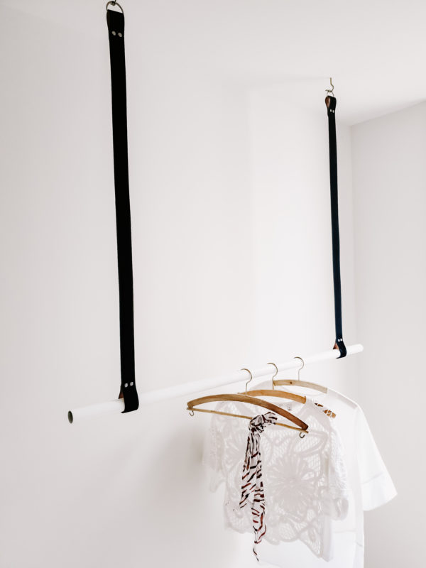 Black Leather Hanging Rail White