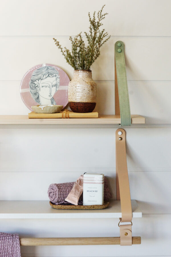 Leather Strap Shelf with Hanging Rail