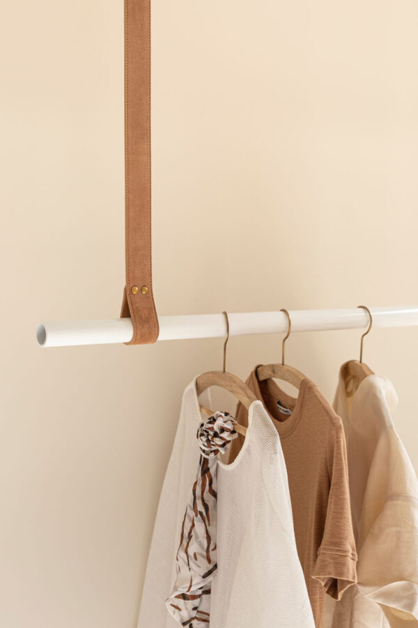 Biscuit Suede Leather Hanging Rail